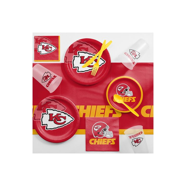NFL Red And Yellow Kansas City Chiefs Game Day Party Supplies Kit