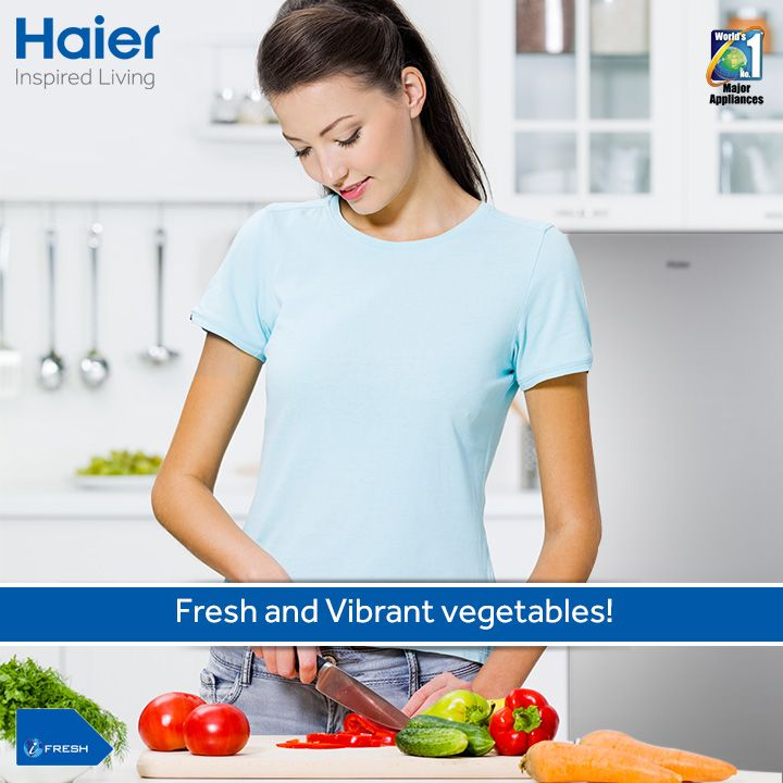 Tasty food means use of fresh and flavorful ingredients. #Haier's #refrigerator helps retain freshness and flavor! It's efficient cooling system and ample storage space keeps all your wonderful vegetables at their best. #HaierIndia #Technology #Appliances #Fridge #Refrigerators #Innovation #InspiredLiving