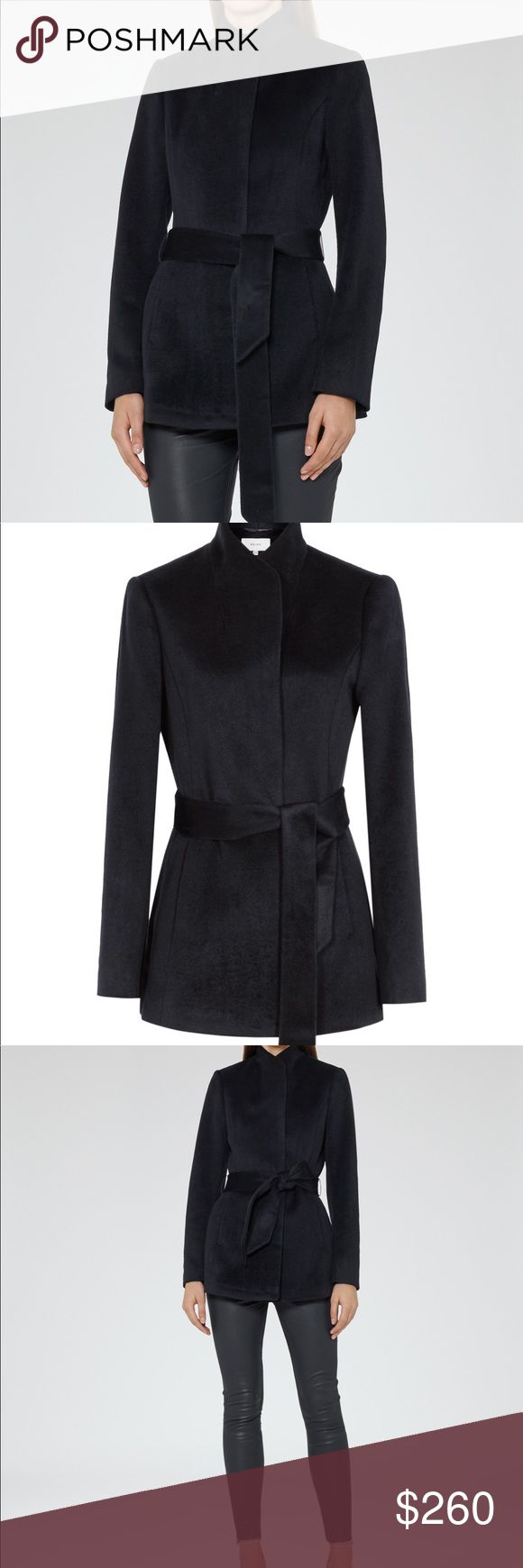 Brand new Reiss Reema belted coat jacket navy Reiss reema belted navy jacket coat. Brand new with tags, never worn. Size 6 US. Still available on the Reiss website for $340. Reiss Jackets & Coats