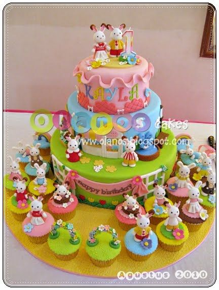 Olanos: Sylvanian Rabbits Family Themed Birthday Cake and Cupcakes