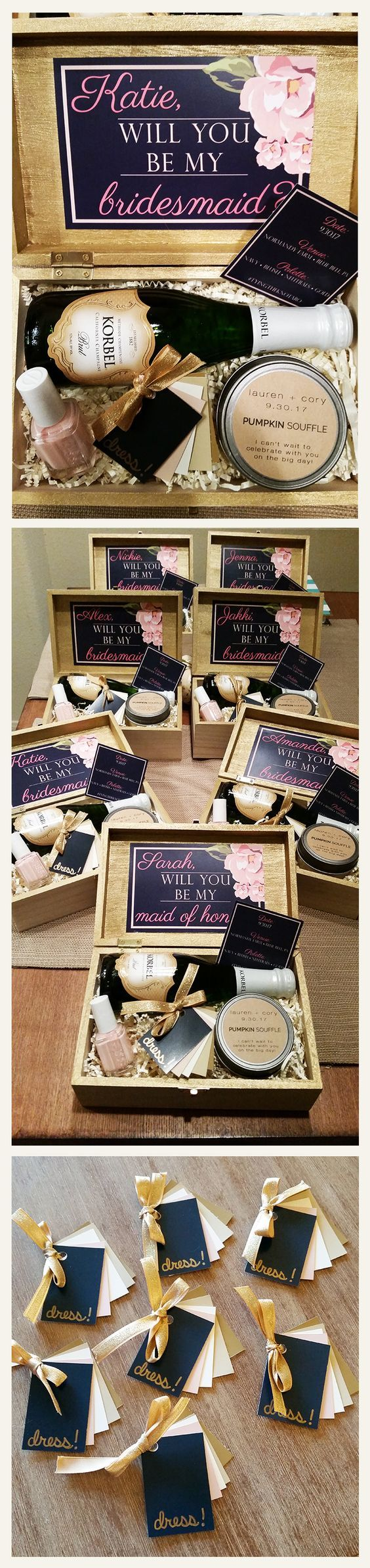 my bridesmaid invitation boxes - all you need is a craft store, paint samples, some patience, and a lot of wine. click for link to custom label candles from Ellery Mae Candles on Etsy. all the girls said they could smell the amazing pumpkin before the box was even open :):