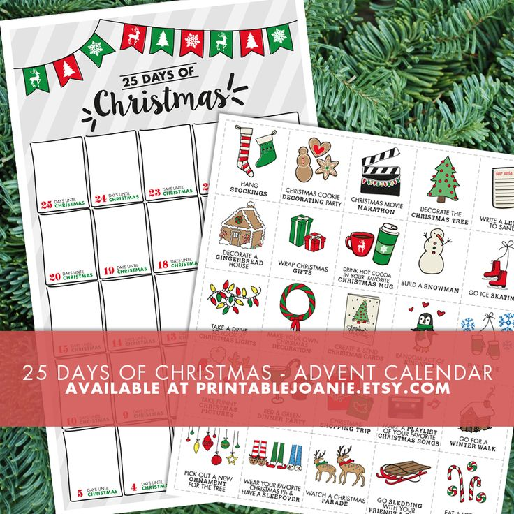 You can use this fun and original printable advent calendar to count down the days until Christmas with your family!