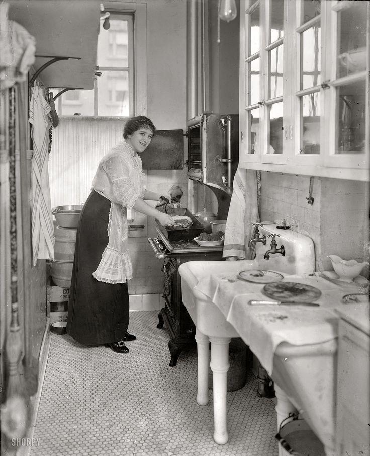 "Margarete's Kitchen: 1914. March 2, 1914. ""Margarete Ober."" The Metropolitan Opera mezzo-soprano with a nice rib roast. 8x10 glass negative, G.G. Bain Collection. Nice details of kitchen furnishings."