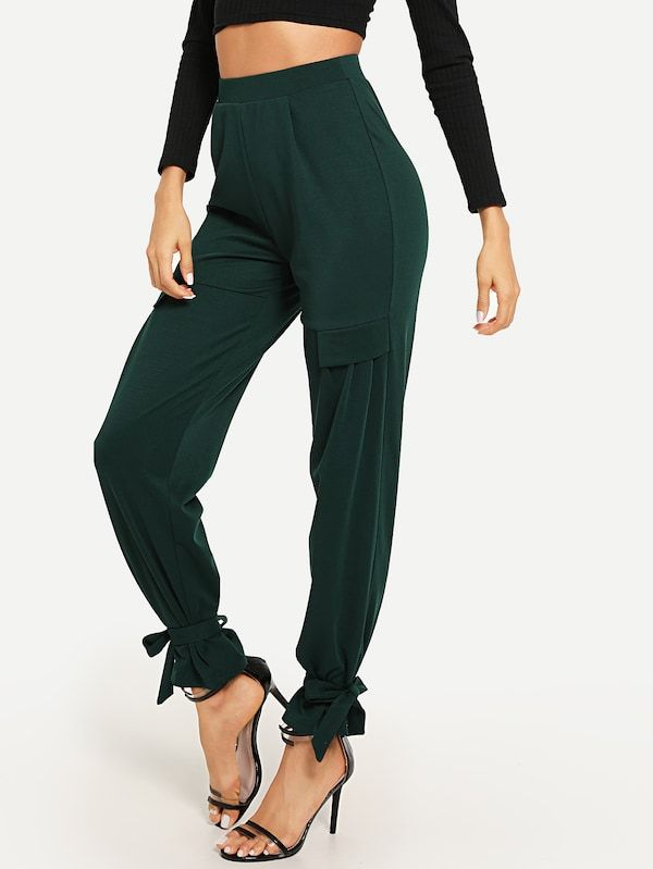 ad3d5ab5cd Ruffle Detail Knot Solid Pants -SheIn(Sheinside)   To Slay or not to ...
