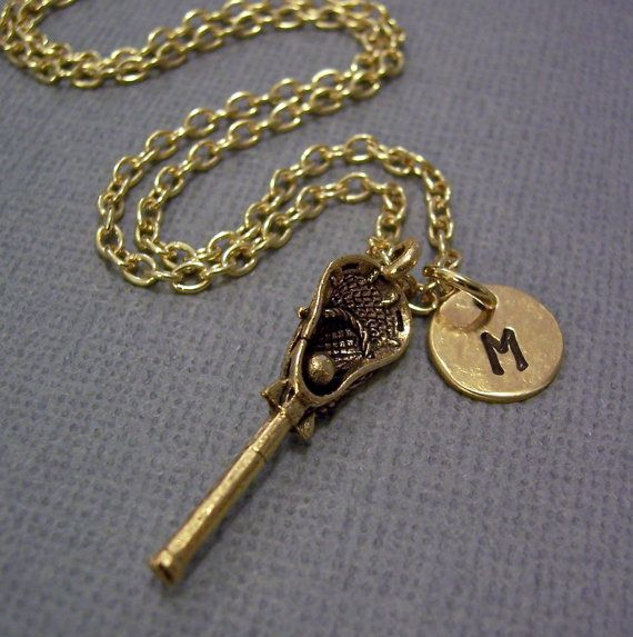 Initial and lacrosse stick necklace