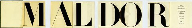 Les chants de Maldoror, de Lautréamont, par Pierre Faucheux (1924-1999), typographe et graphiste, pour le Club français du livre en 1949.