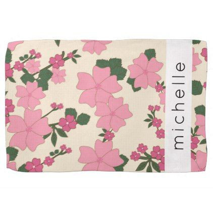 Your Name - Flowers Leaves Blossoms - Pink Hand Towel - pink gifts style ideas cyo unique