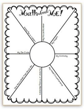 Math about Me - first day of school activity
