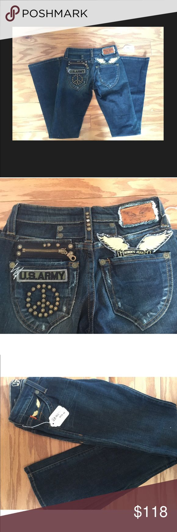 Robin's Jeans Bootcut Vietnam Studded Denim! 26 24 BNWT Rare ROBIN's Jeans Bootcut Vietnam Studded Denim! Size 24 & 26 Left Robin's Jean Jeans Boot Cut