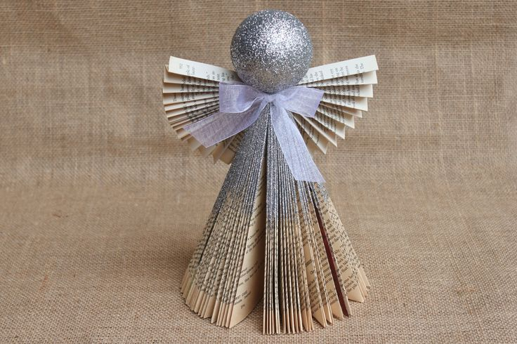 Folded Book Angel Silver 11 by whimsysworkshop on Etsy, $12.00