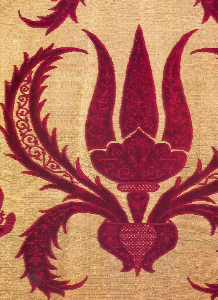 detail of antique ottoman silk textile