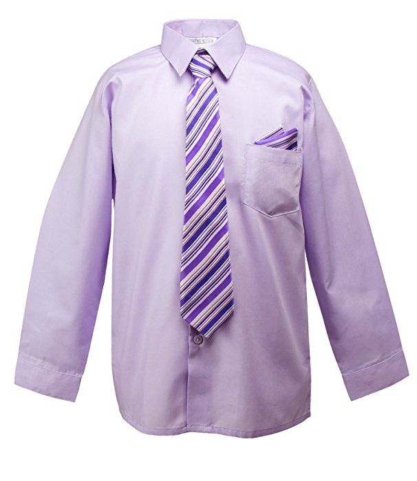 Spring Notion Little Boys' Dress Shirt with Tie and Handkerchief Set 3T Lilac