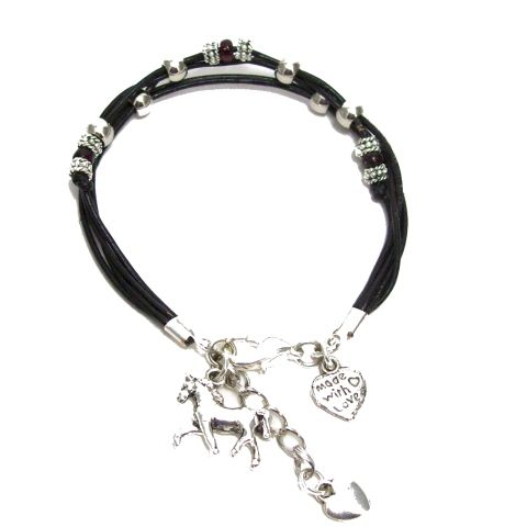 Leather cord Horse Heart Bracelet.