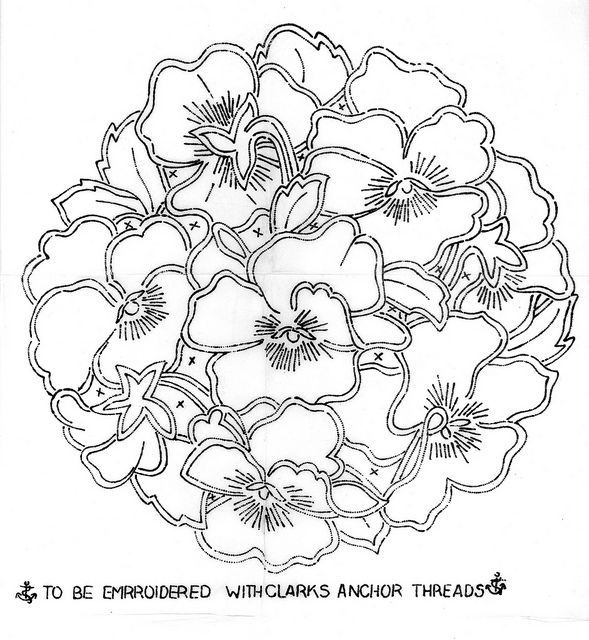 pansy drawing anchor pansy cutwork via flickr doodles drawing two