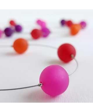 Långt halsband, orange-rosa mix