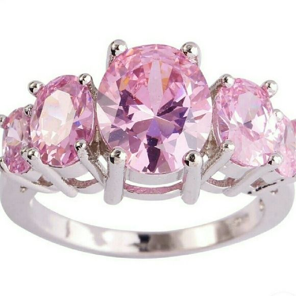 Pink Topaz Sterling Silver Ring Pink Topaz Sterling Silver Cocktail Ring, size 7, nwot Jewelry Rings