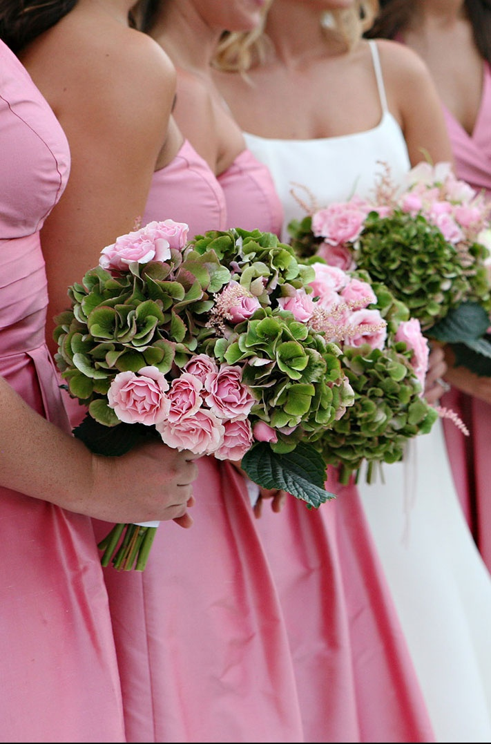 Pretty pink sweetheart rose and green hydrangea bridal bouquets {MDS Floral, NJ; Photo: Marie Labbancz}
