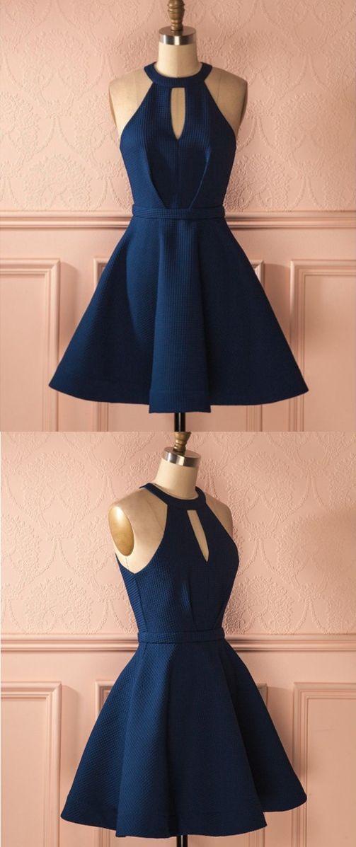 6cdc3fe13cf A-Line Jewel Keyhole Dark Blue Satin Short Homecoming Cocktail Dress ...