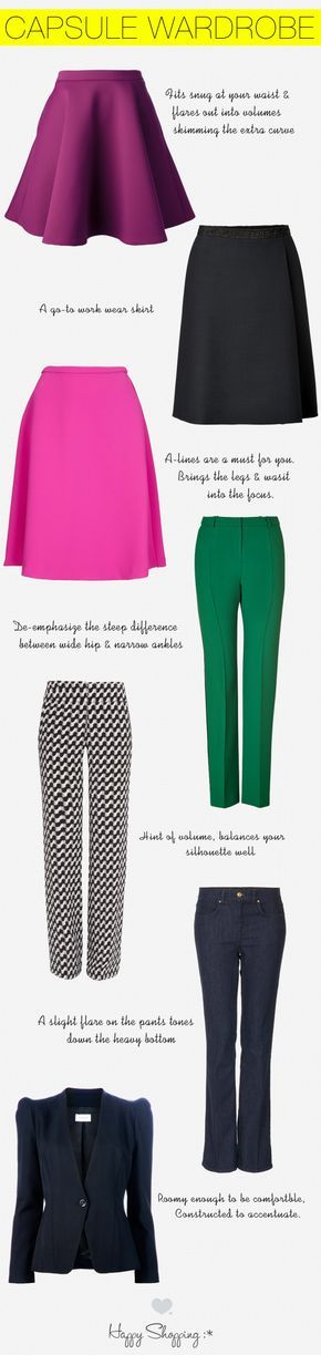 capsule wardrobe and shopping guide for pear shaped women. these are the styles of skirt, pants and blazers  that flatter you and we tell you why!