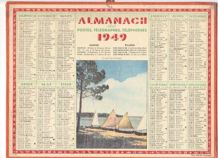 CALENDRIER, ALMANACH PTT - ANNEE 1949 - Escale des Canoës