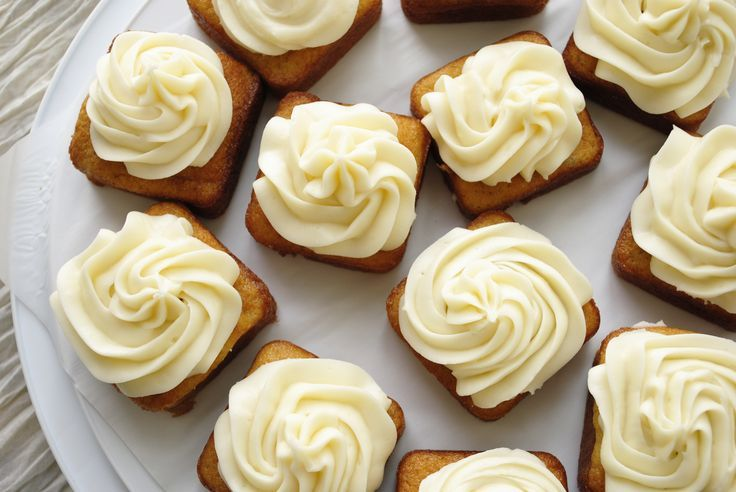 Mini Banana Cakes using Pampered Chef's Brownie Pan with Cream Cheese Frosting.