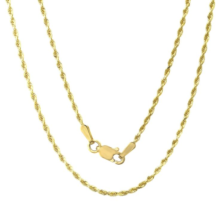 Sterling Essentials 14k Gold Rope Chain Necklace, Men's