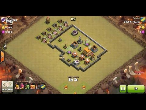 Clash of Clans TH4 vs TH5 Mixed Troop Clan War 3 Star Attack ⋆ Clash of Clans 3 Stars Clan Wars
