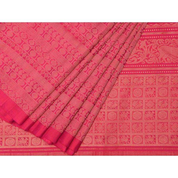 Pink Kanchipuram Silk Handloom Saree with Raising Temple Design k0197
