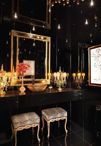 Luxury bathroom in black and gold. Oh. My. God.!! Get out of here! This HAS to be mine!!!