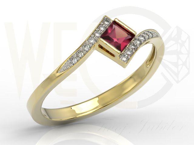Pierścionek z żółtego złota z rubinem i diamentami / Ring made by yellow gold with diamonds and ruby / 1511 PLN / #ring #ruby #diamonds #gold #gift #redruby #pierscionek #prezent #zloto #rubin #diamenty
