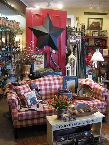 primitive furniture country cottage decor living room brick sofas ky farmhouse kentucky upholstered sofa radcliff decorating americana gift rooms plaid