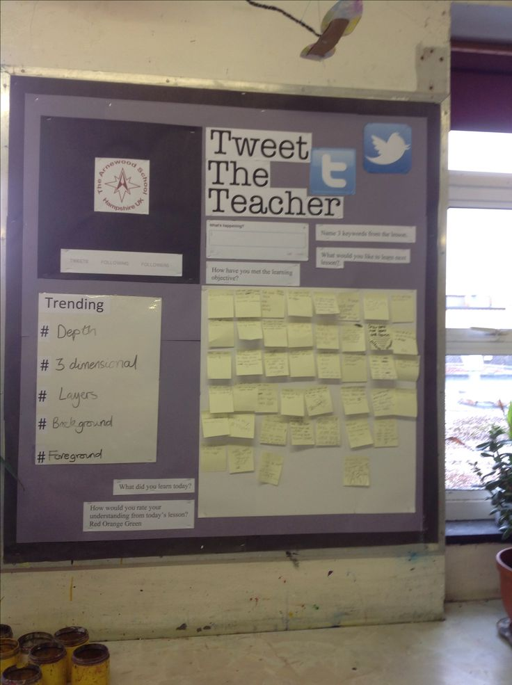 Twitter display board - tweet the teacher. Used for feedback and reflection.