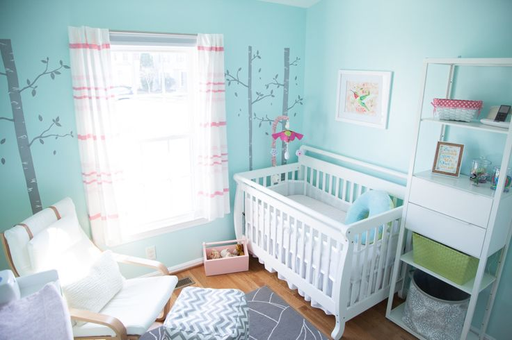 Aqua and Pink Nursery: Pink Curtains, Baby Girl Nurserys, Pink Baby, Pink Nurseries, Girl Nurseries, Projects Nurseries, Baby Rooms, Nurseries Ideas, Baby Girls Nurseries