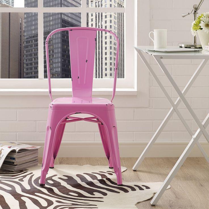 Metal Café Chair - Bubble Gum Pink