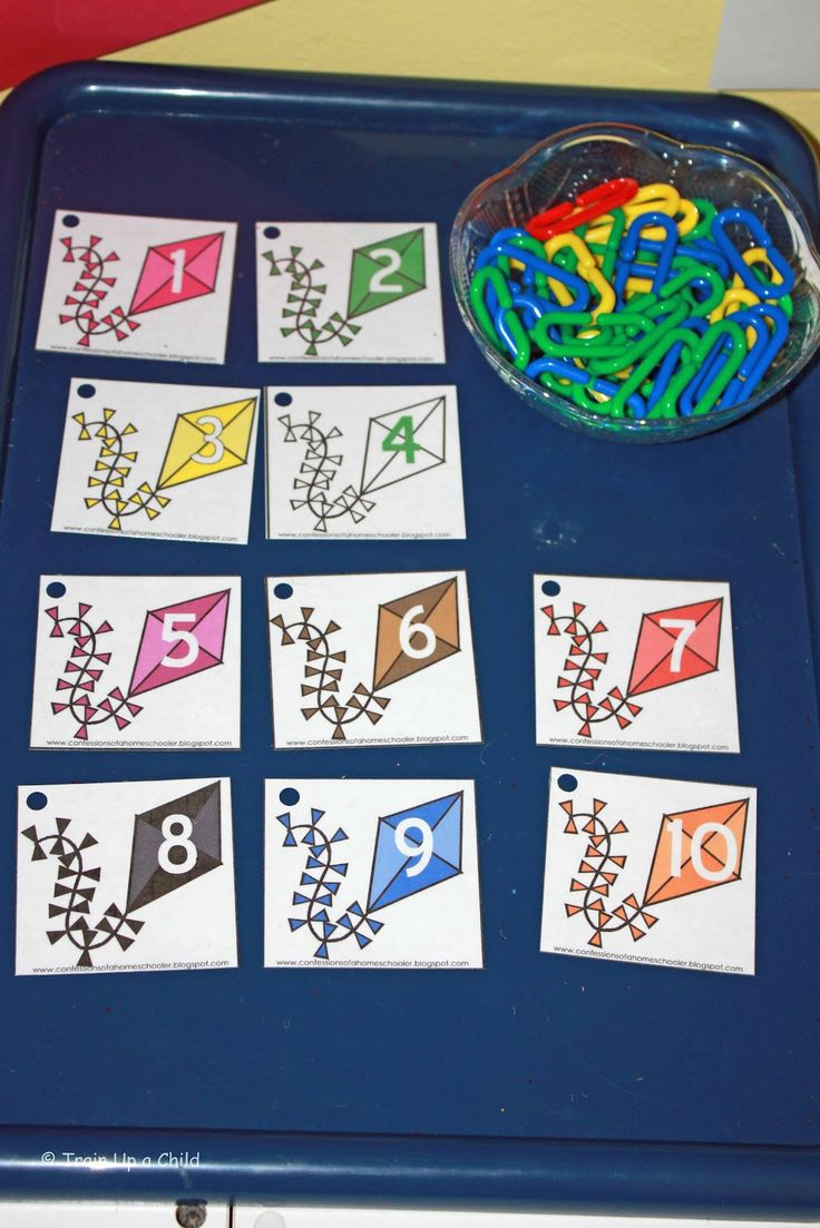 Connecting math links to number cards - counting and fine motor practice. Many other learning activities, too.