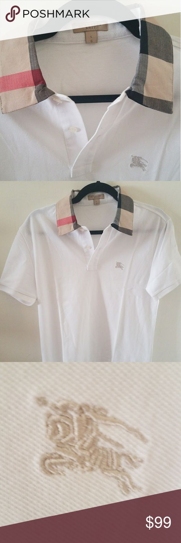 """100% Authentic Burberry Brit polo Shirt MEDIUM MEN MEDIUM 100% Authentic Burberry Brit polo Shirt Mens. Very Rare! This is a UK exclusive, not available in the USA!  L on tag but that is UK Sizing, equals MEDIUM in US.  PRICE IS FIRM  BRAND NEW!!! No tag   23"""" Armpit to armpit. Please compare LAST PIC  Better Price through PPal Text me  Eric 925-984-1655  Low-ball offers will be ignored, sorry no trades  If you have an offer, make an offer, don't comment and ask if I'll take a certain…"""