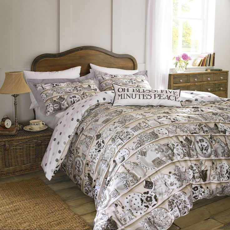 Dresser Bedding - Dresser is the most dramatic pattern by far. It shows a bold and irresistible display of favourite everyday china, including many familiar Emma Bridgewater patterns, in a subtle colour combination of putty-pink and pale grey on soft cotton sateen: dreams of home. #EmmaBridgewater #Bedding