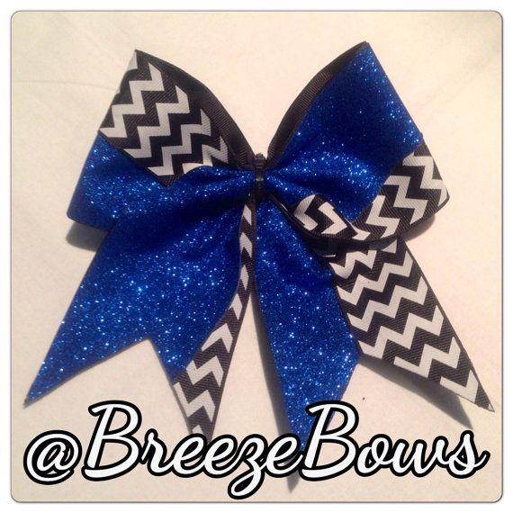 Royal Blue Glitter w/ Black & White Chevron Cheer by BreezeBows, $10.00