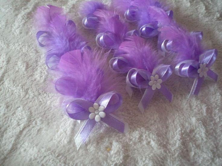 Svadobné pierko s levanduľovým perím + biela+ levanduľová