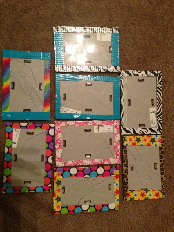 Duck tape picture frames easy project to do... add a pic of your friend = very cool present!