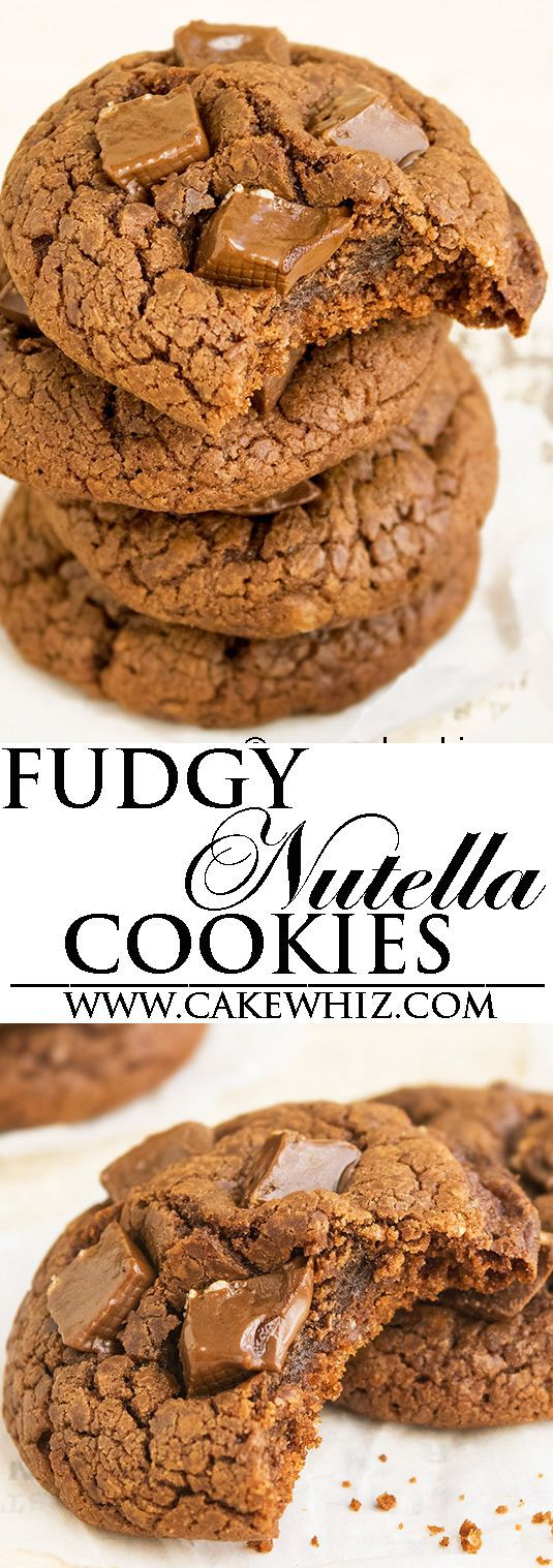 These quick and easy chewy CHOCOLATE NUTELLA COOKIES are addictive and made with simple ingredients from your pantry. They are rich and fudgy and have a brownie-like texture. Great for cookie exchanges. From http://cakewhiz.com