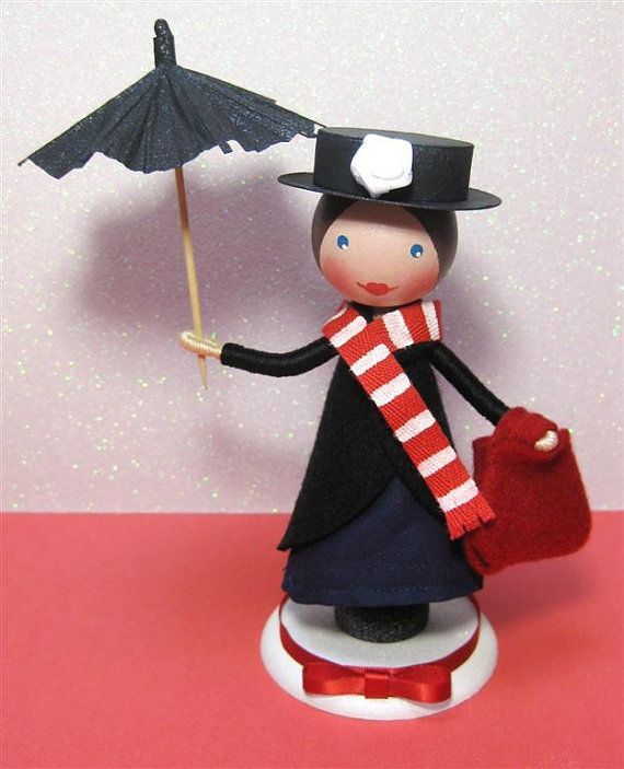 Mary Poppins clothespin doll