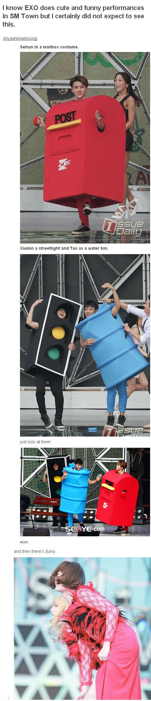 So here we have Posthun, Traffic Light Xuimin, Trash Can Tao and Joonmyeona ......what is life? what is air? I can't  #EXO