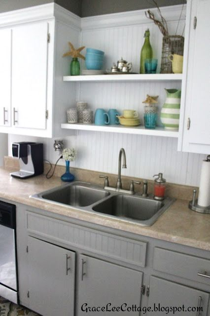 Grace Lee Cottage: Updating Old Kitchen Cabinets By Using Crown Molding