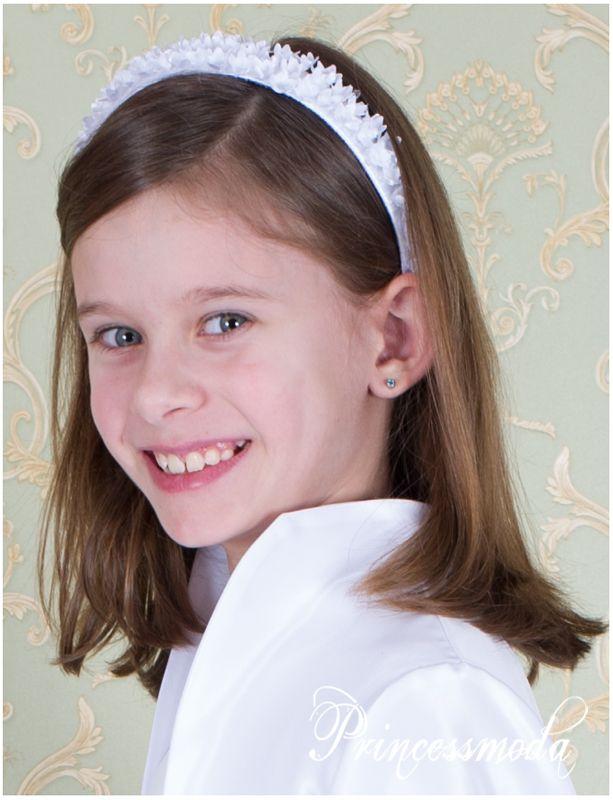 Nr  105 Kommunion Haarreifen Stirnband in Wei   - Princessmoda - Alles