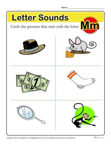 Letter sounds m preschool letter worksheet with this educational