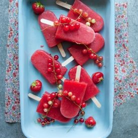 Sweet 'n Sour Ice Pops (actual page is in swedish): 500 g watermelon (weight in shell)  500g strawberries  200g redcurrants  1 cup water  1 cup raw cane sugar  a pinch of salt