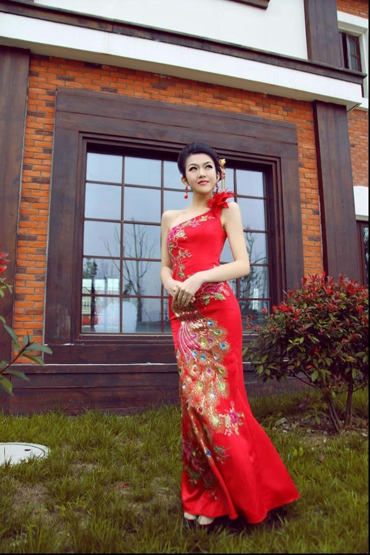 Ok wedding gallery the beauty dress of cheongsam 2013 - Prom Mermaid Cheongsam Long Peacock Bridal Gown Dress Bridesmaid Dresses In Clothing Shoes Accessories Wedding Formal Occasion Wedding Dresses