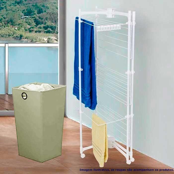 Varal Vertical Dobrável Branco + Cesto de Roupas Impermeável 60 litros Bege