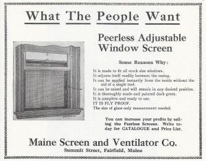 adjustable window screen 1911  The old-fashioned adjustable window screen is a historic alternative to a full screen.  It eliminates the need to put up and take down storm windows each season if the storm is fitted with a hinge and stays.